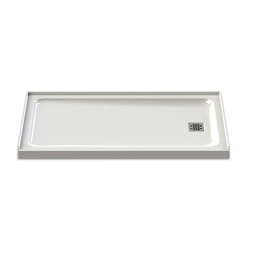 Base de douche Olympia 60 pouces x 32 pouces à écoulement droit en blanc