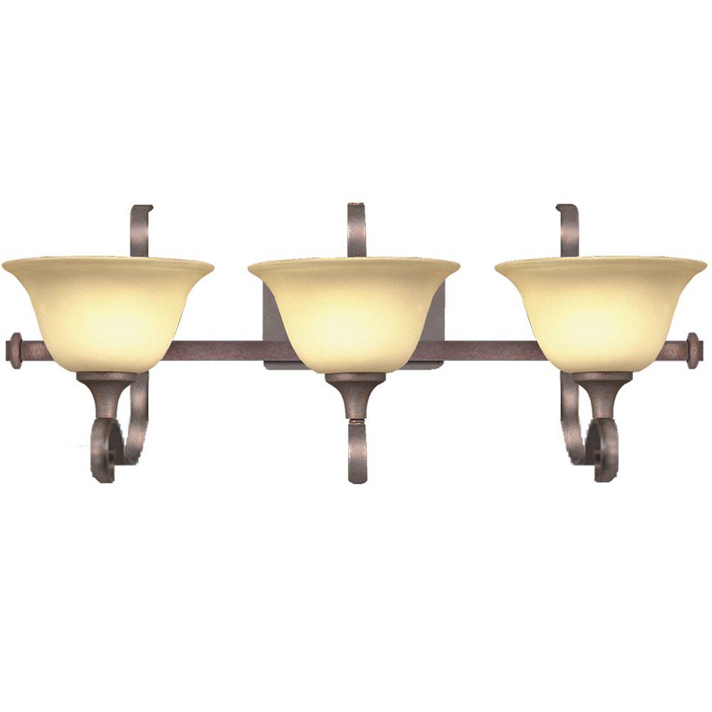 Illumine 3 Light Bath Vanity Bronze Finish Sahara Sand Glass