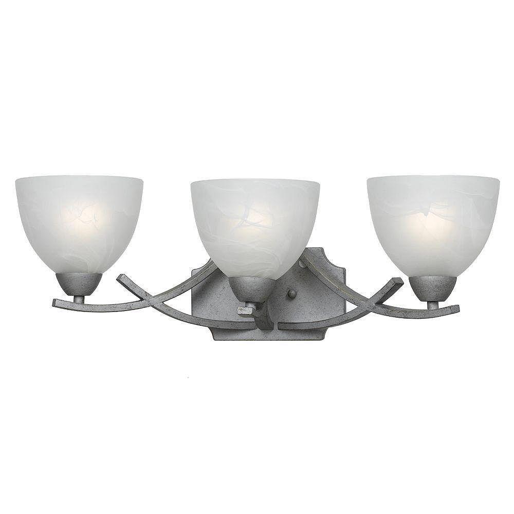 Illumine 3 Light Bath Vanity Gold Finish White Swirl Alabaster Glass Shades