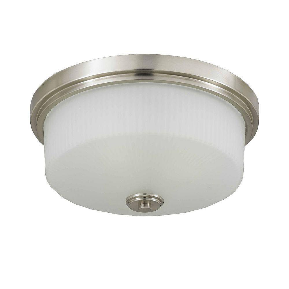 Illumine 3 Light Flush Mount Satin Nickel Finish Frosted Ribbed Glass