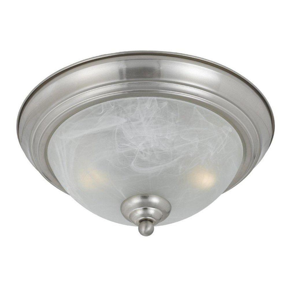 Illumine 2 Light Flush Mount Satin Nickel Finish White Swirl Alabaster Glass Shades