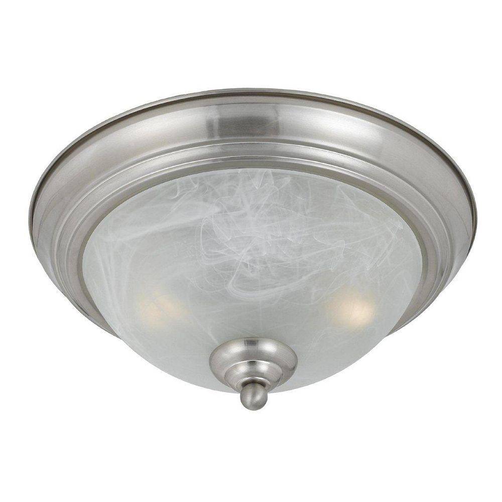 Illumine 2 Light Flush Mount Satin Nickel Finish White Alabaster Swirl Glass