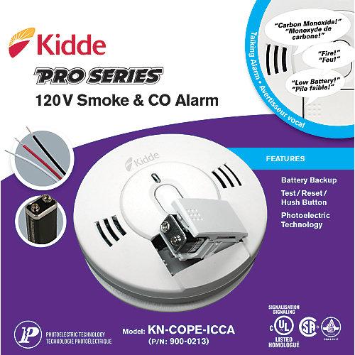 Avertisseur de fumée vocal photoélectrique avec CO au 120Vet pile