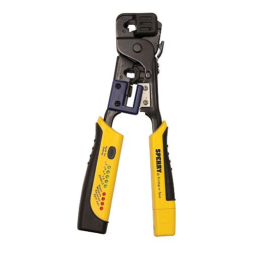 Crimp-n-Test RJ45 Crimper and Tester, 4-in-1 Tool, Cuts, Strips, Terminates and Tests, 1/Ea