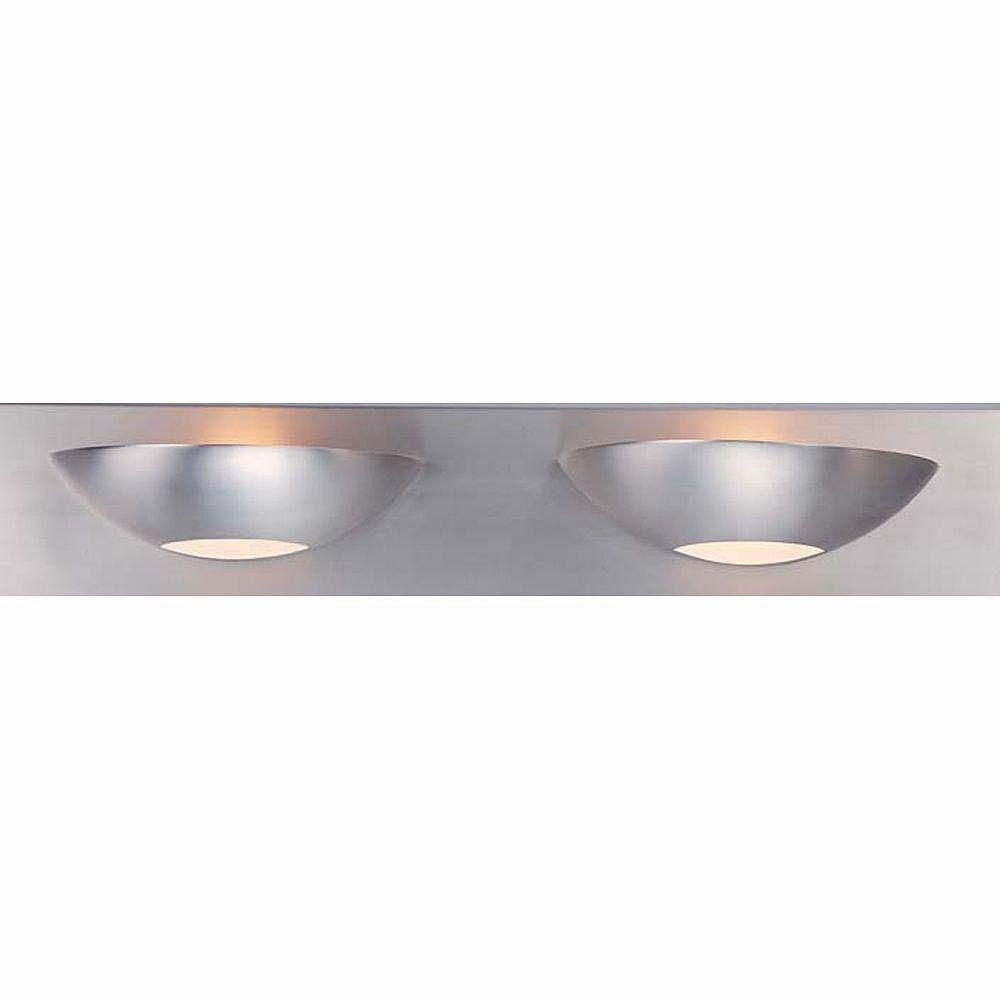 Illumine 2 Light Bath Vanity Brushed Steel Finish Satin Etched Glass