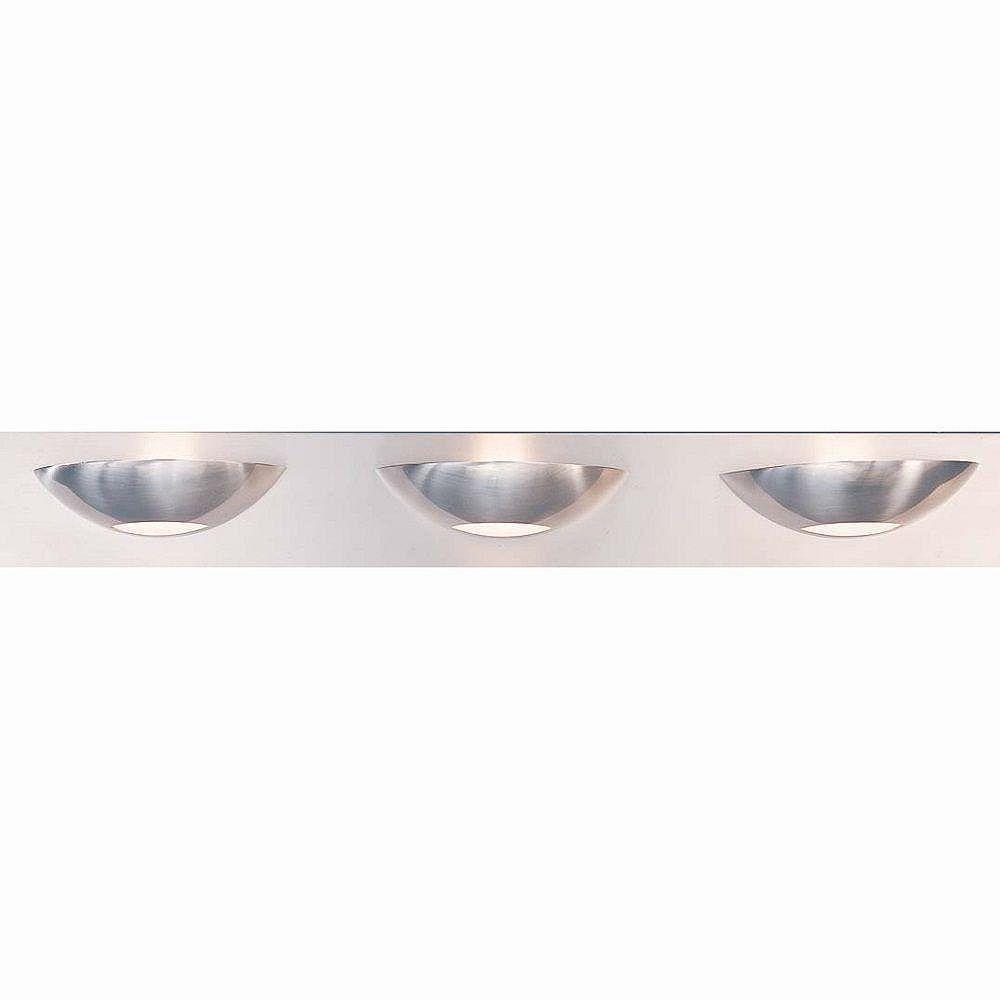 Illumine 3 Light Bath Vanity Brushed Steel Finish Satin Etched Glass