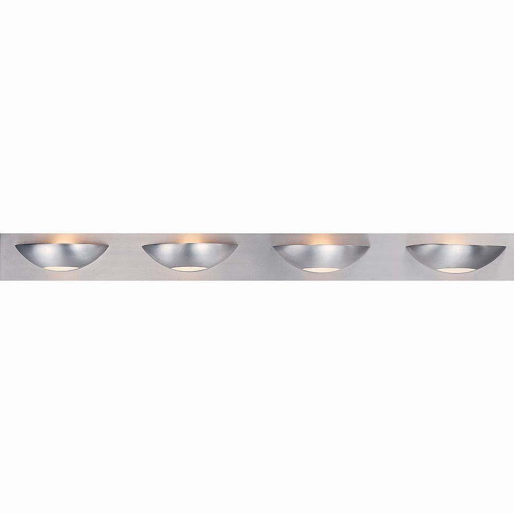 Illumine 4 Light Bath Vanity Brushed Steel Finish Satin Etched Glass