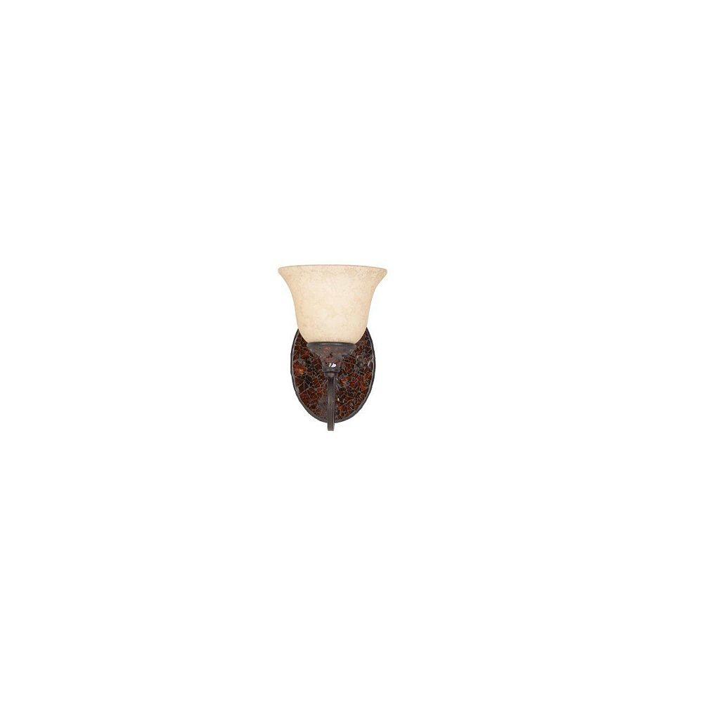 Illumine 1 Light Bath Vanity Bronze Finish Cognac Tinted Frosted Glass