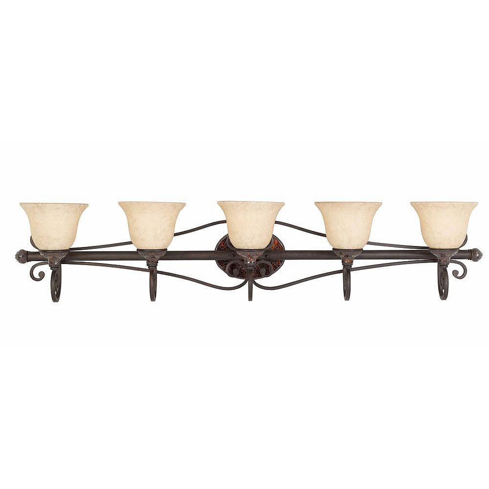 Illumine 5 Light Bath Vanity Bronze Finish Cognac Tinted Frosted Glass