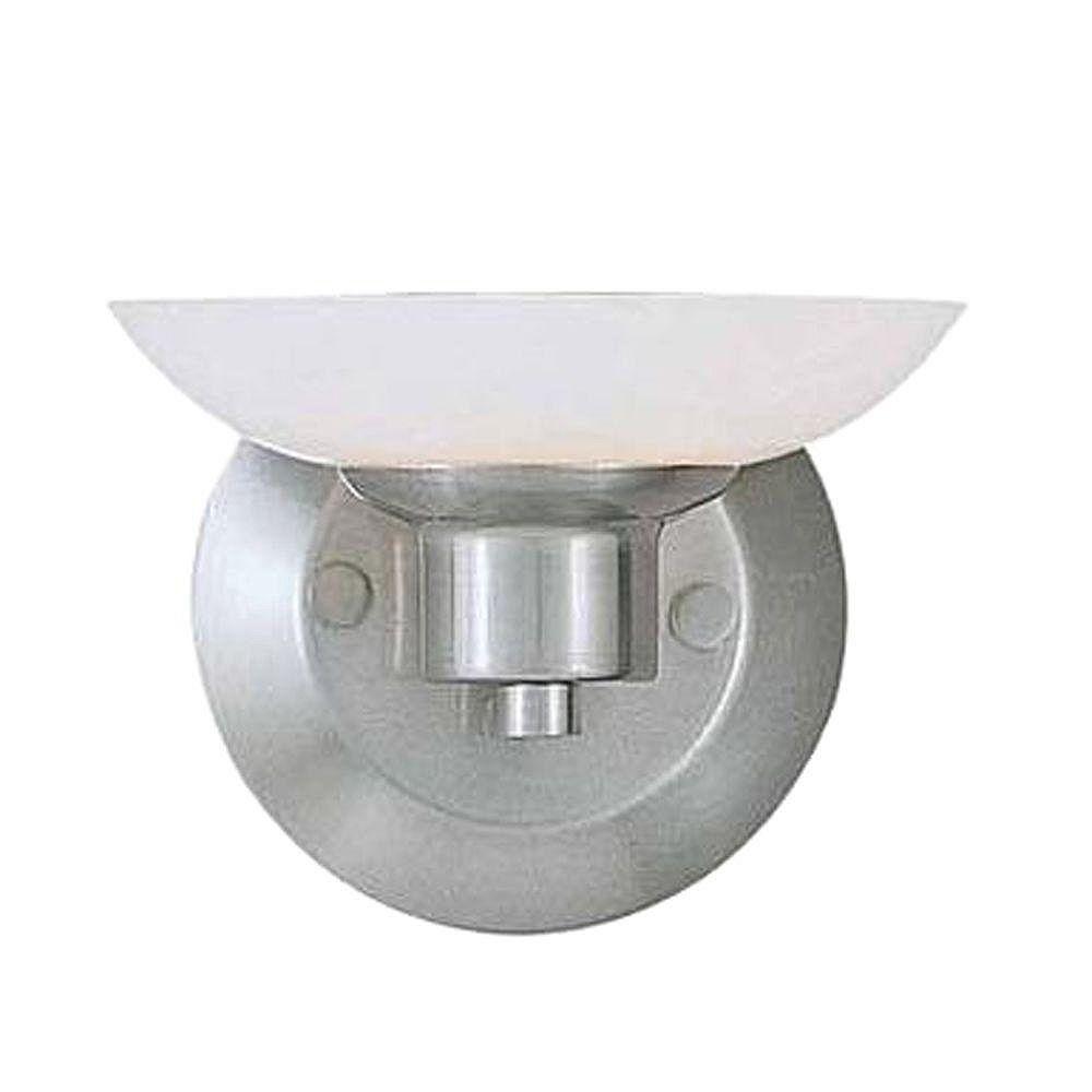 Illumine 1 Light Bath Vanity Brushed Steel Finish White Art Glass