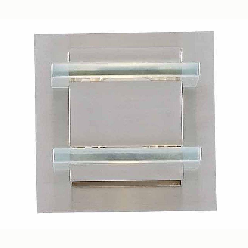 Illumine 1 Light Bath Vanity Brushed Steel Finish Stacked Glass