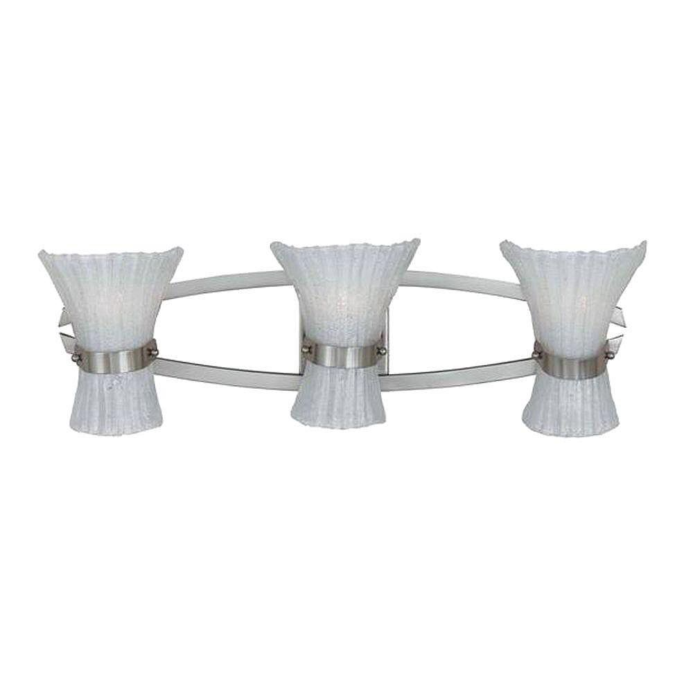 Illumine 3 Light Bath Vanity Raw Nickel Finish White Beaded Glass Shades