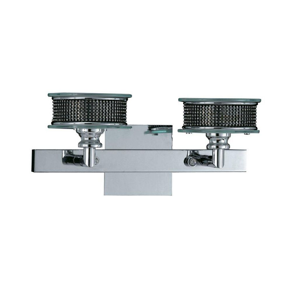 Illumine 2 Light Bath Vanity Chrome Finish Rhinestones with Clear and Frosted Glass