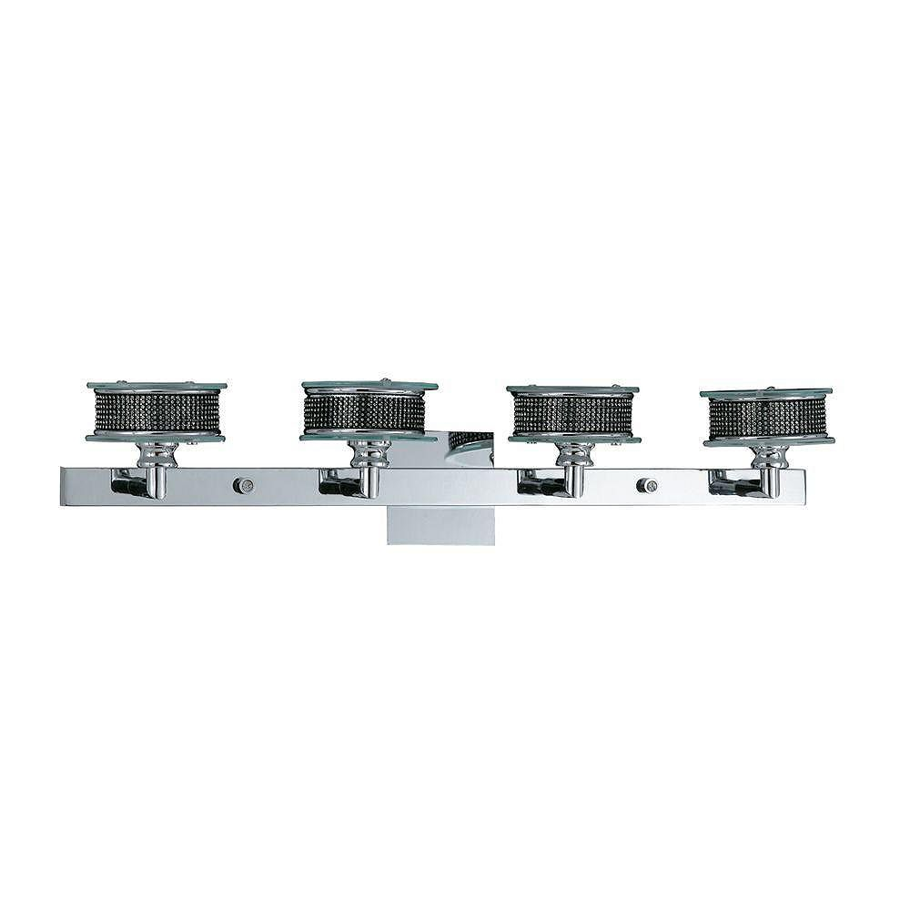 Illumine 4 Light Bath Vanity Chrome Finish Rhinestones with Clear and Frosted Glass