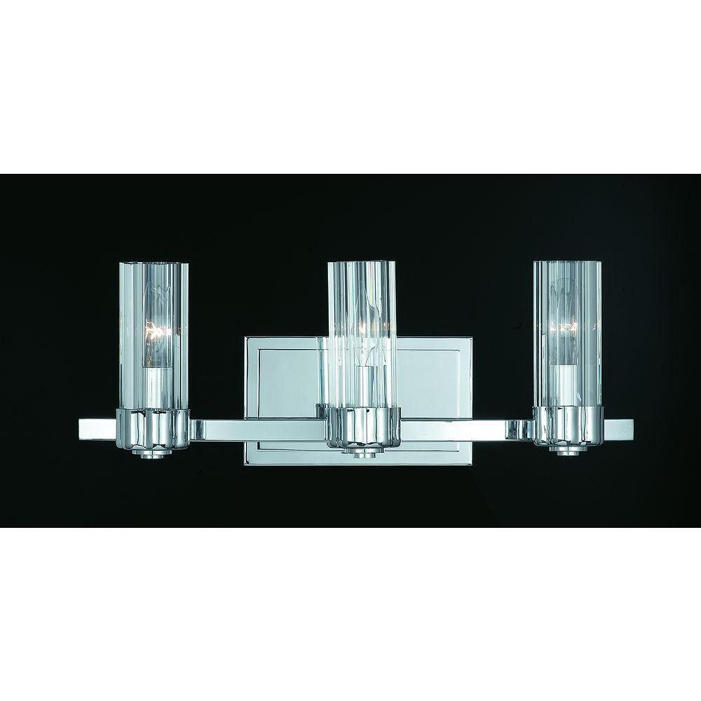 Illumine 3 Light Bath Vanity Chrome Finish Clear Fluted Glass