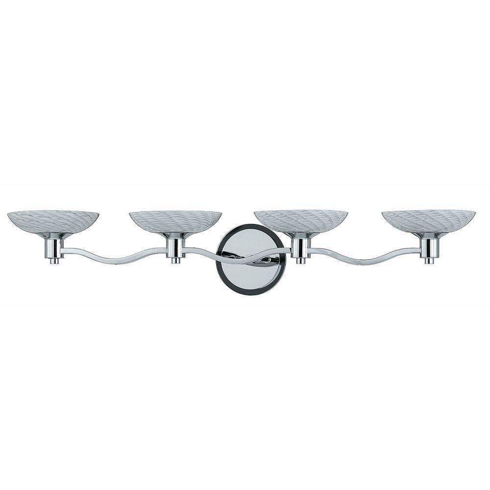 Illumine 4 Light Bath Vanity Chrome Finish White Art Glass