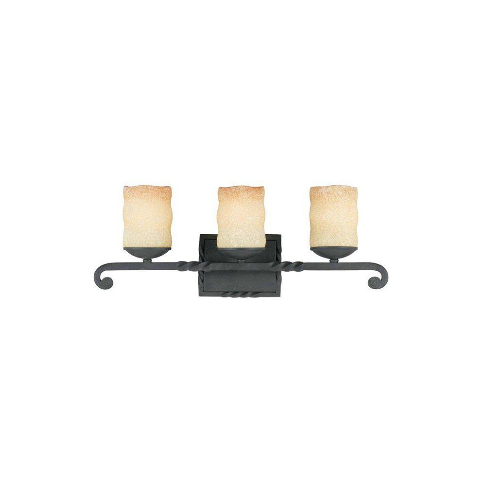 Illumine 3 Light Bath Vanity Bronze Finish Candle liked Antiqued Scavo Glass