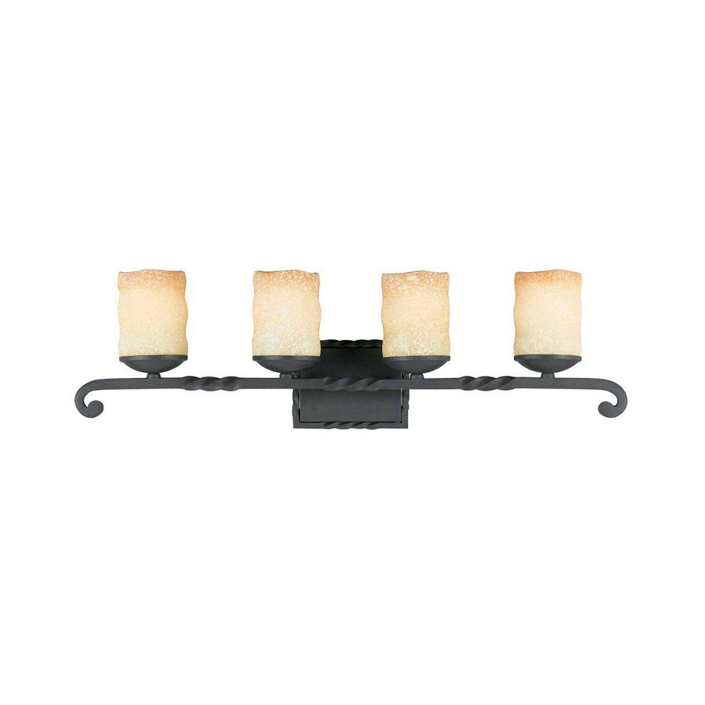 Illumine 4 Light Bath Vanity Bronze Finish Candle liked Antiqued Scavo Glass