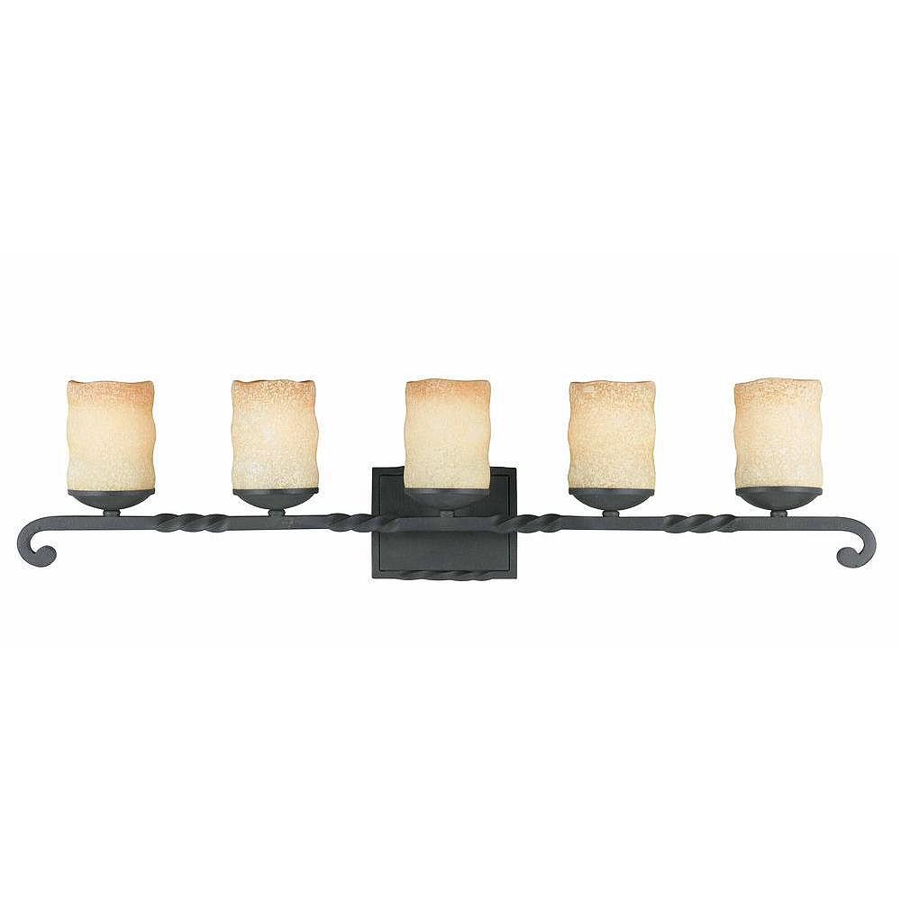 Illumine 5 Light Bath Vanity Bronze Finish Candle liked Antiqued Scavo Glass