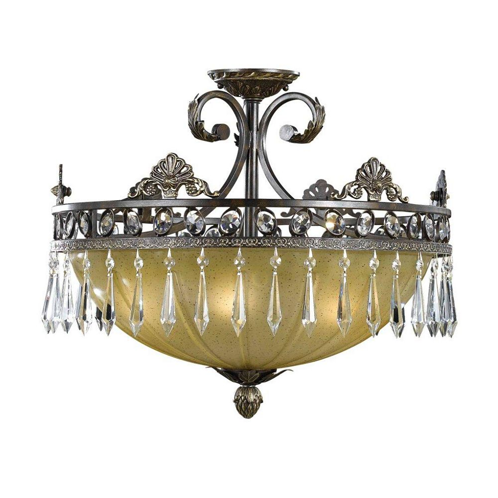 Illumine 5 Light Semi Flush Mount Bronze Finish Opulent Glass Shades