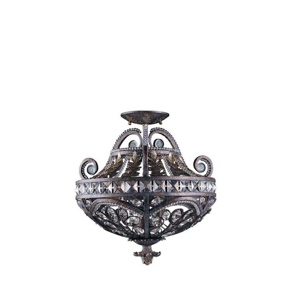 Illumine 3 Light Semi Flush Mount Bronze Finish Crystal Accents
