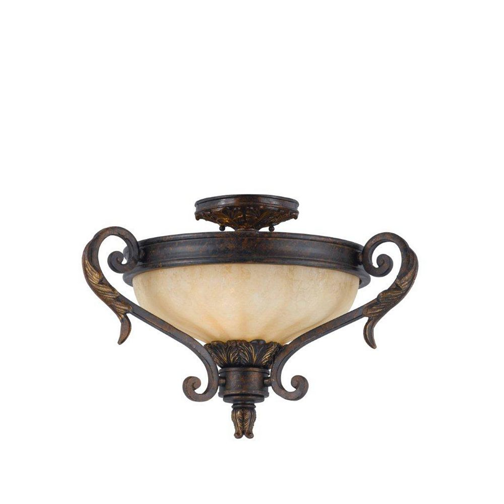 Illumine 2 Light Semi Flush Mount Bronze Finish Fluted Scavo Glass