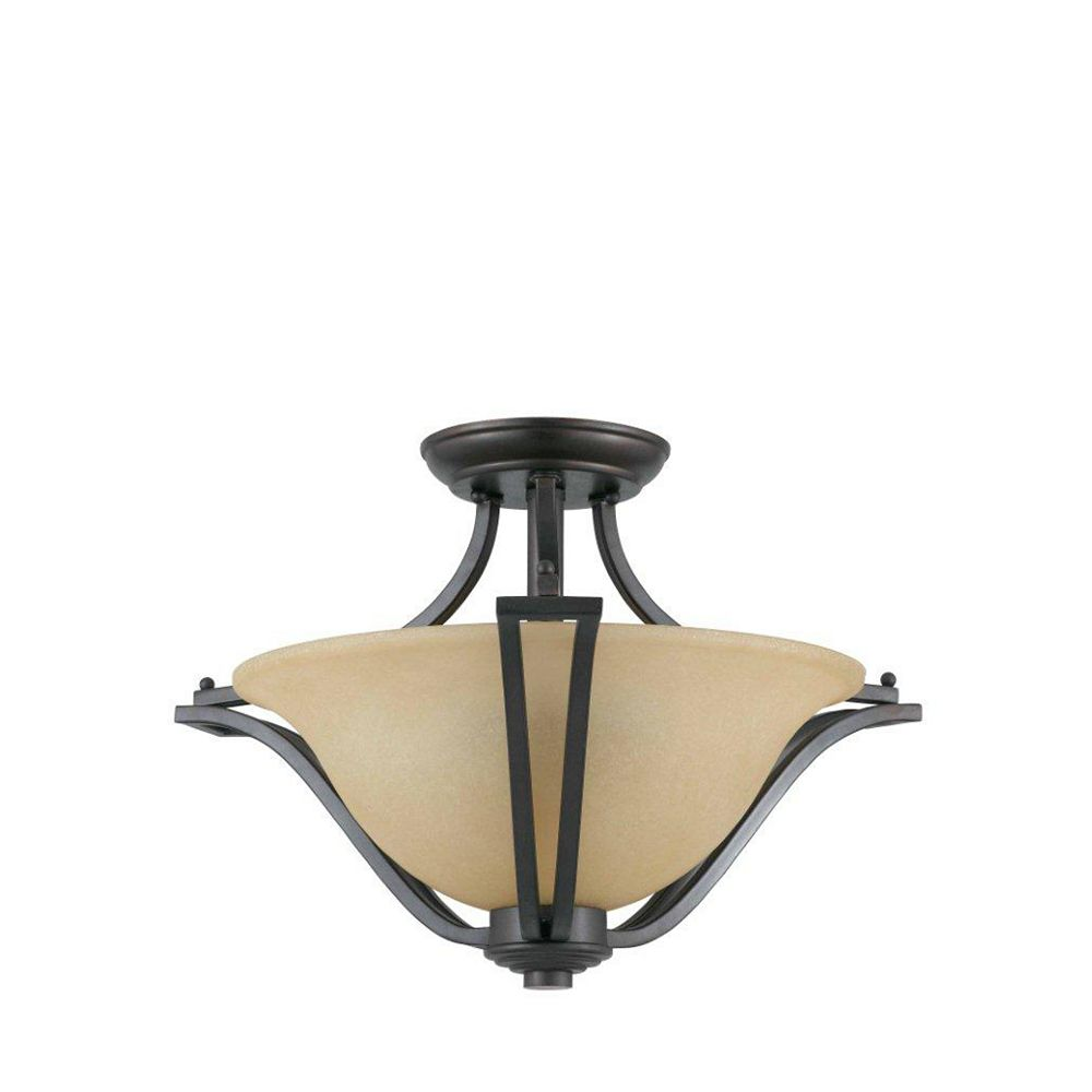 Illumine 2 Light Semi Flush Mount Bronze Finish Amber Tinted Frosted Glass