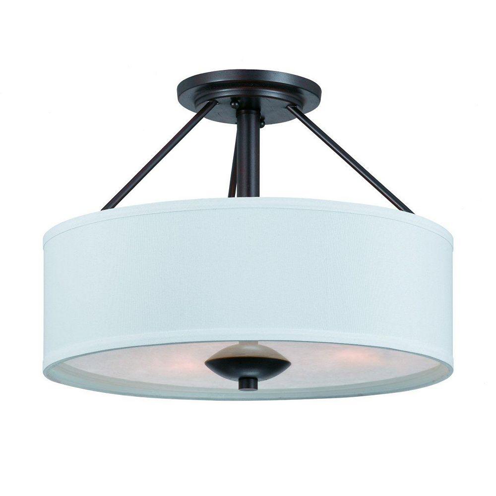 Illumine 3 Light Semi Flush Mount Bronze Finish White Opal Glass