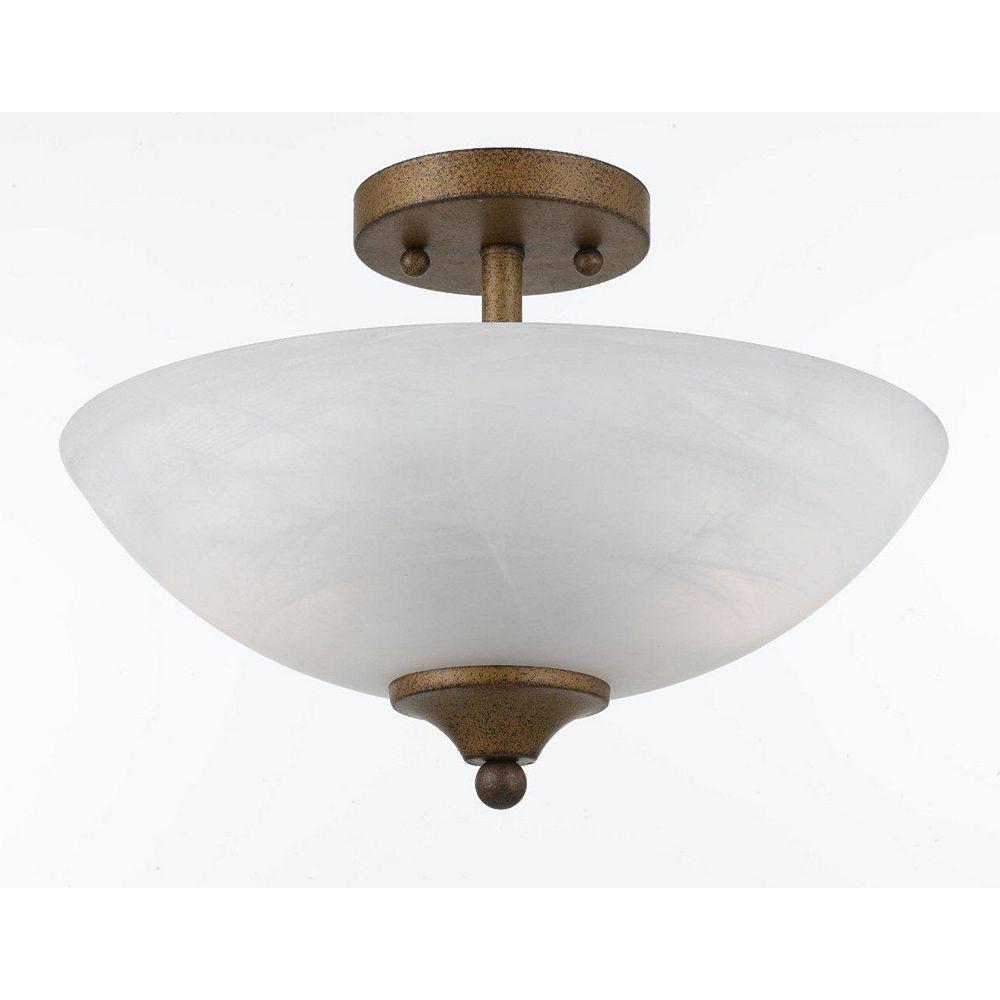 Illumine 2 Light Semi Flush Mount Gold Finish White Swirl Alabaster Glass Shades