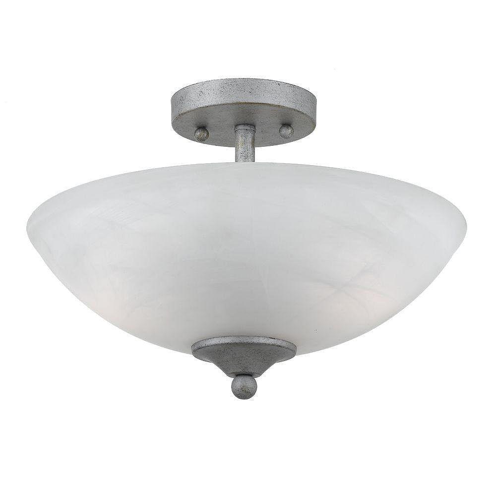 Illumine 2 Light Semi Flush Mount Silver Finish White Swirl Alabaster Glass Shades