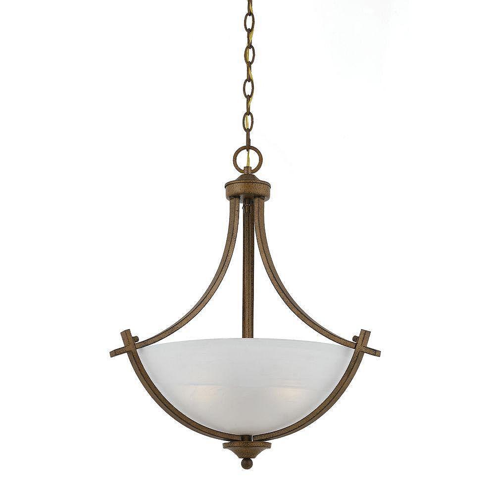 Illumine 2 Light Semi Flush Mount Rust Finish White Swirl Alabaster Glass Shades