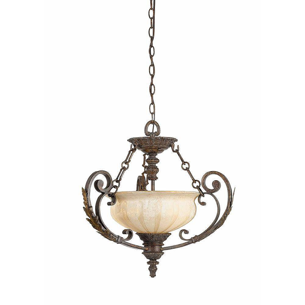 Illumine 3 Light Semi Flush Mount Bronze Finish Cognac Antiqued Scavo Glass
