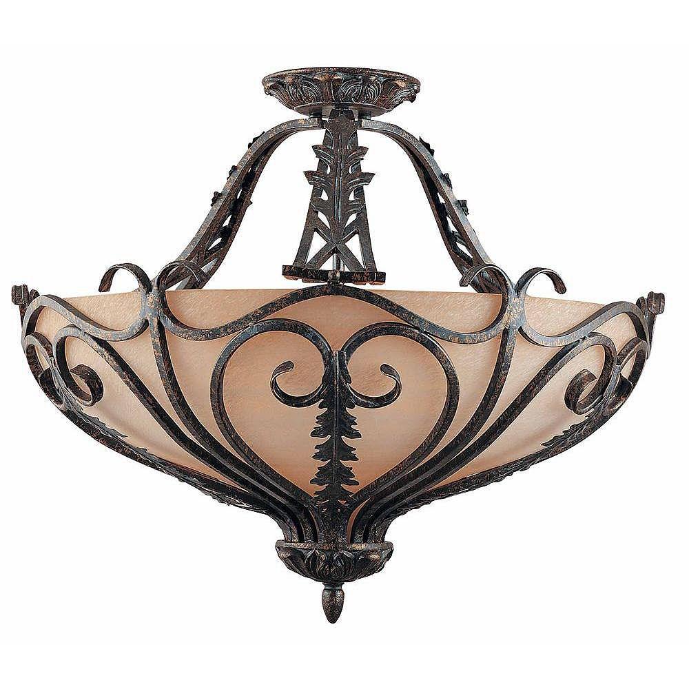Illumine 6 Light Semi Flush Mount Bronze Finish Cognac Antiqued Scavo Glass