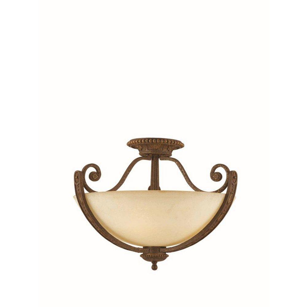 Illumine 4 Light Semi Flush Mount Bronze Finish Cognac Antiqued Scavo Glass