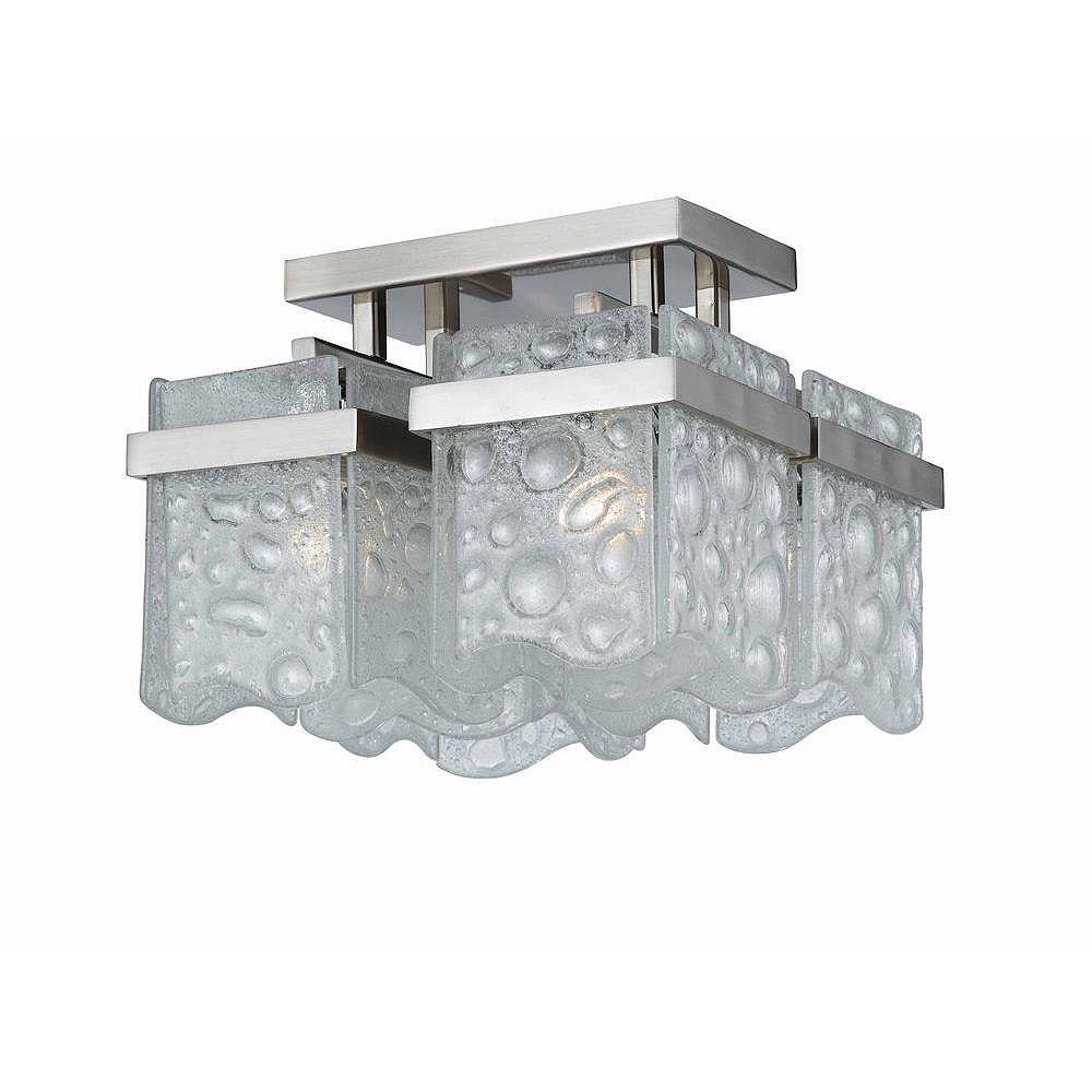 Illumine 4 Light Semi Flush Mount Satin Nickel Finish White Bubble Glass