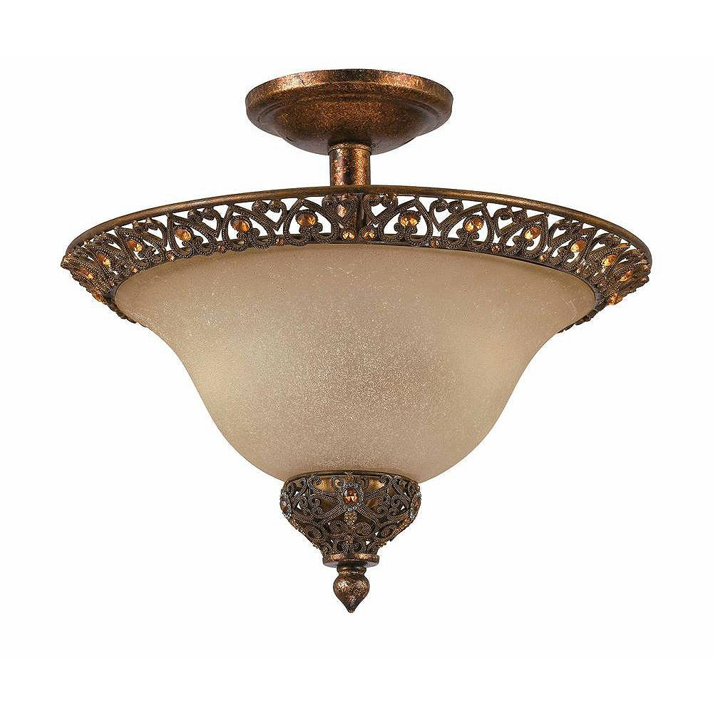 Illumine 2 Light Semi Flush Mount Gold Finish Cognac Tinted Scavo Glass