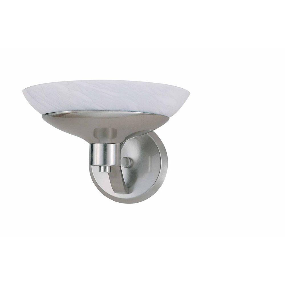 Illumine 1 Light Wall Sconce Brushed Steel Finish White Art Glass
