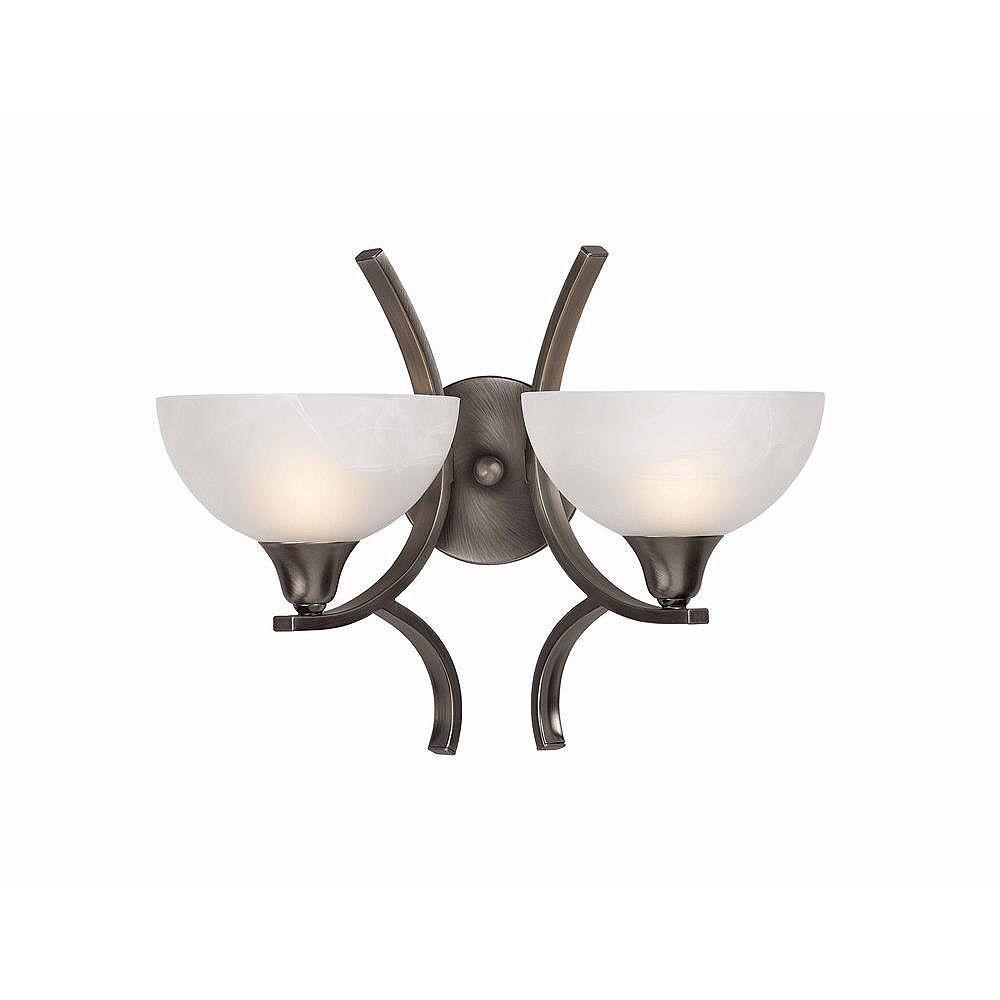 Illumine 2 Light Wall Sconce Brushed Steel Finish White Alabaster Swirl Glass