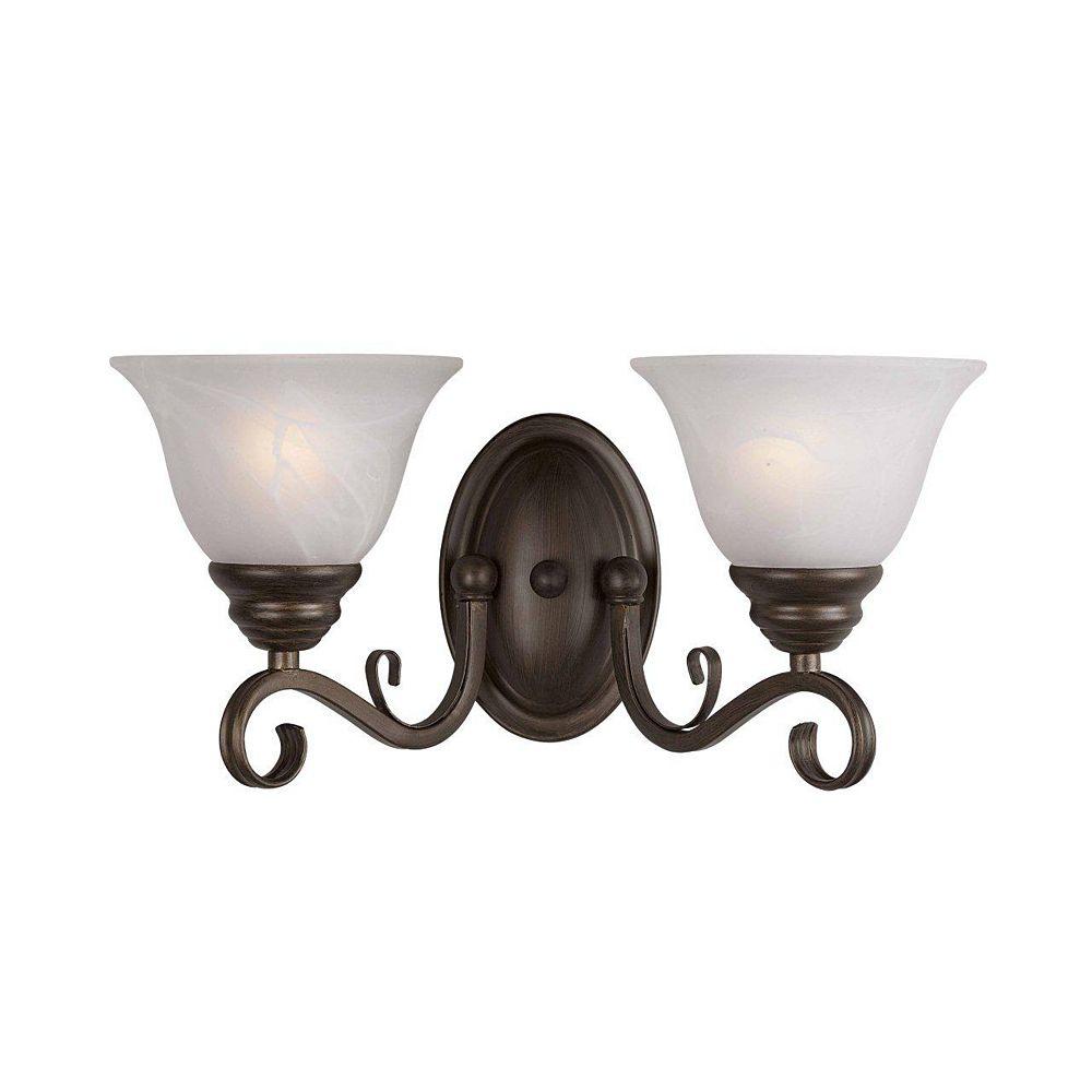 Illumine 2 Light Wall Sconce Bronze Finish White Alabaster Swirl Glass