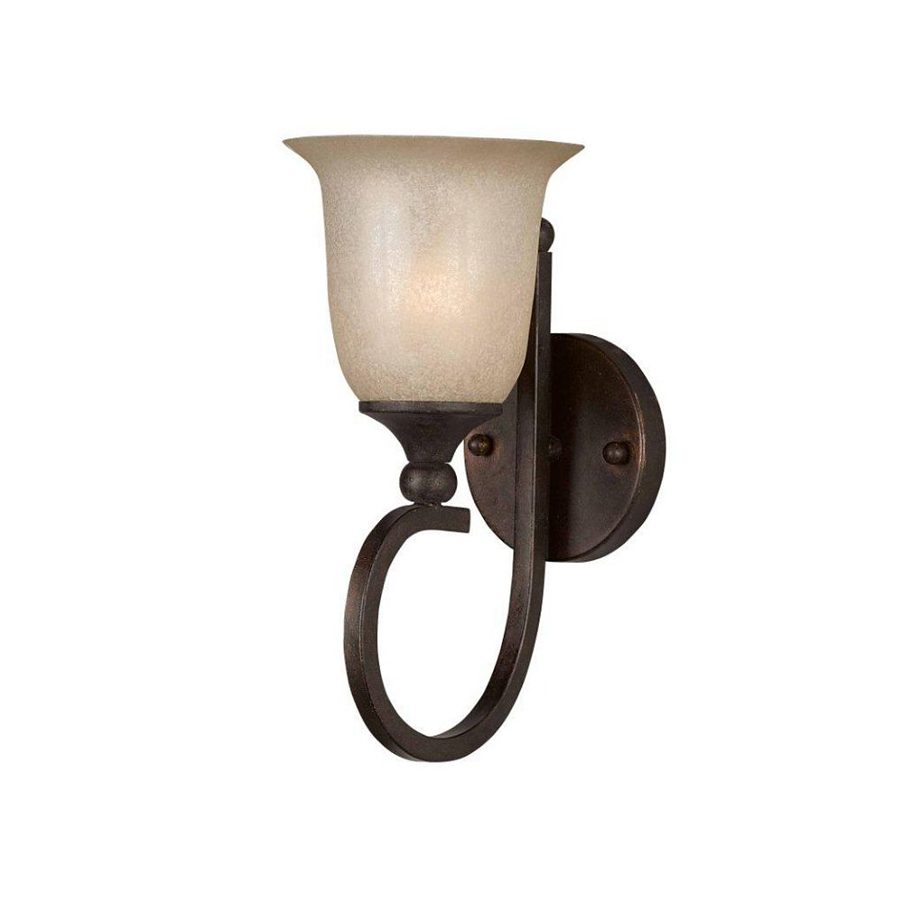 Illumine 1 Light Wall Sconce Bronze Finish Scavo Rainbow Glass
