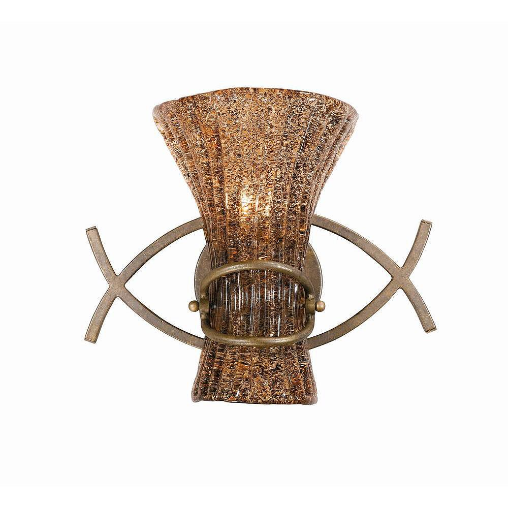 Illumine 1 Light Wall Sconce Bronze Finish Coffee Tinted Piastra Glass