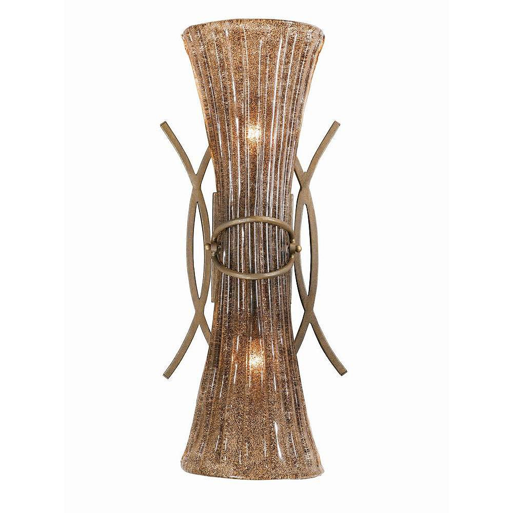Illumine 2 Light Wall Sconce Bronze Finish Coffee Tinted Piastra Glass