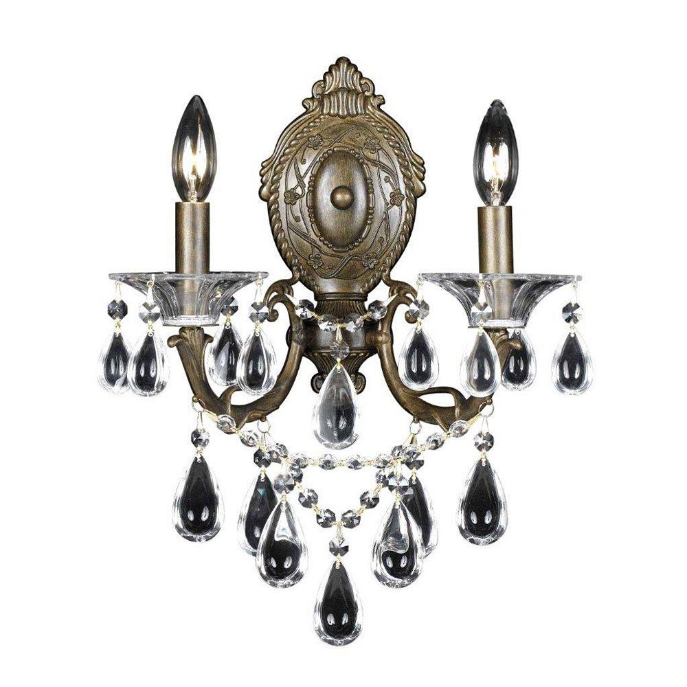 Illumine 2 Light Wall Sconce Bronze Finish Crystal Drops