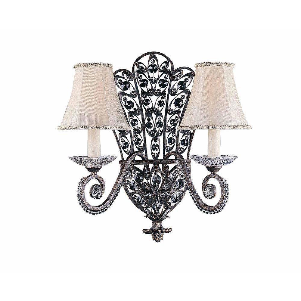 Illumine 2 Light Wall Sconce Bronze Finish Crystal Accents