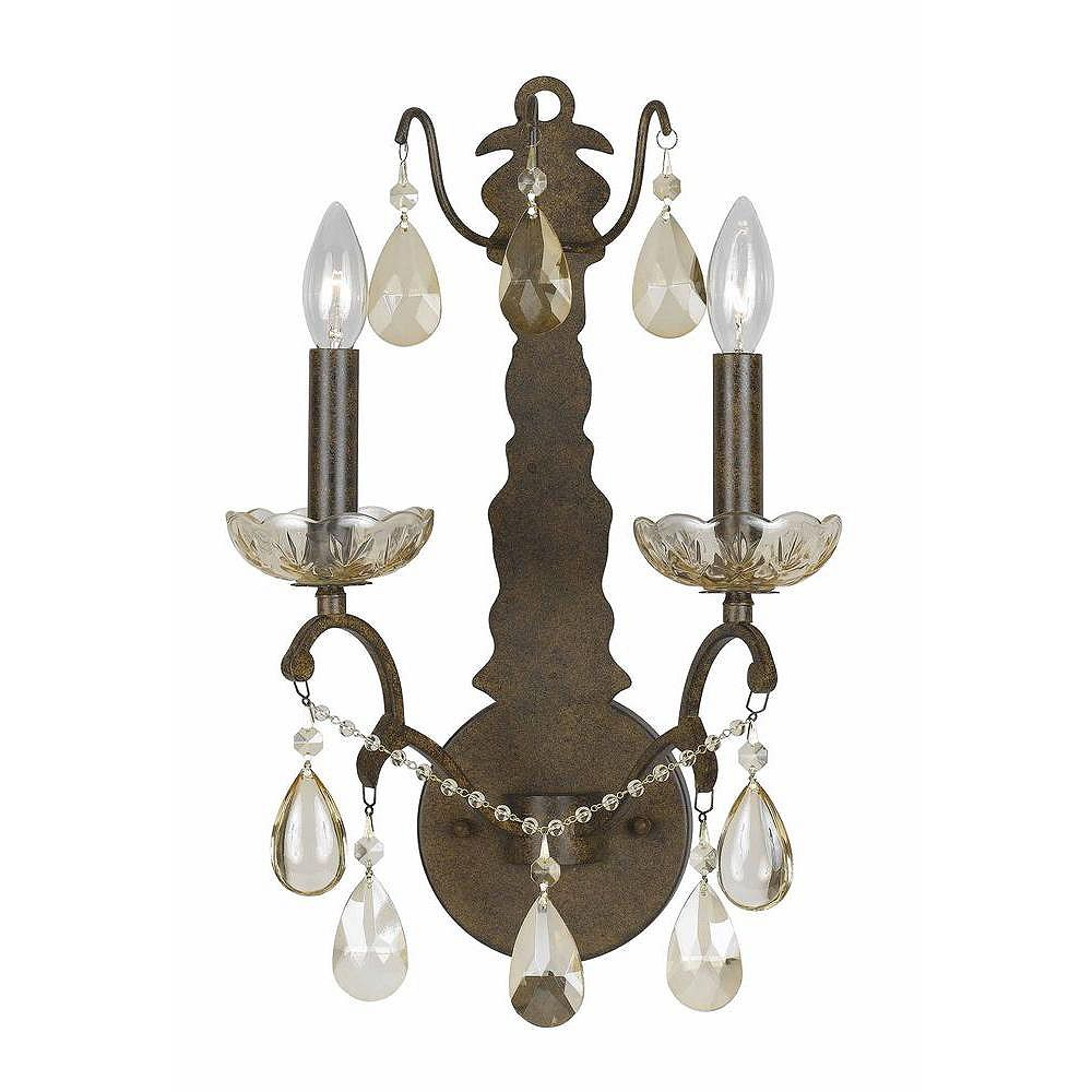 Illumine 2 Light Wall Sconce Bronze Finish Crystal Accents