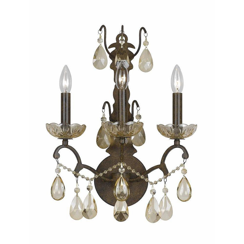Illumine 3 Light Wall Sconce Bronze Finish Crystal Accents