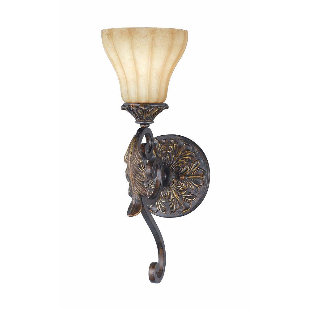 Illumine 1 Light Wall Sconce Bronze Finish Fluted Scavo Glass