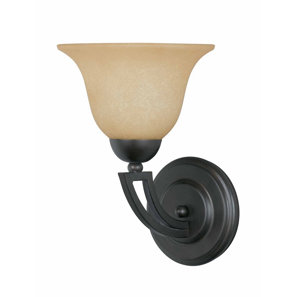 Illumine 1 Light Wall Sconce Bronze Finish Amber Tinted Frosted Glass