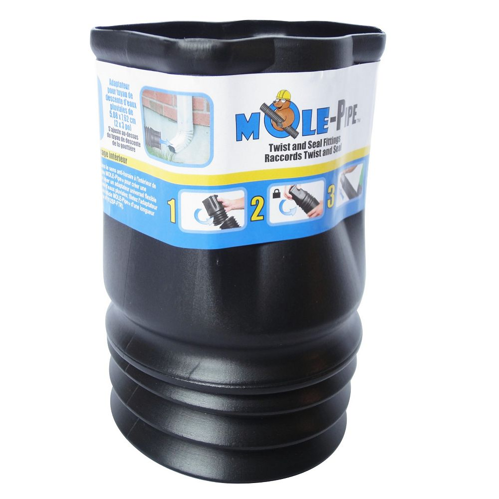 MOLE-Pipe 2 in. x 3 in. Downspout Adapter with Twist and Seal Technology