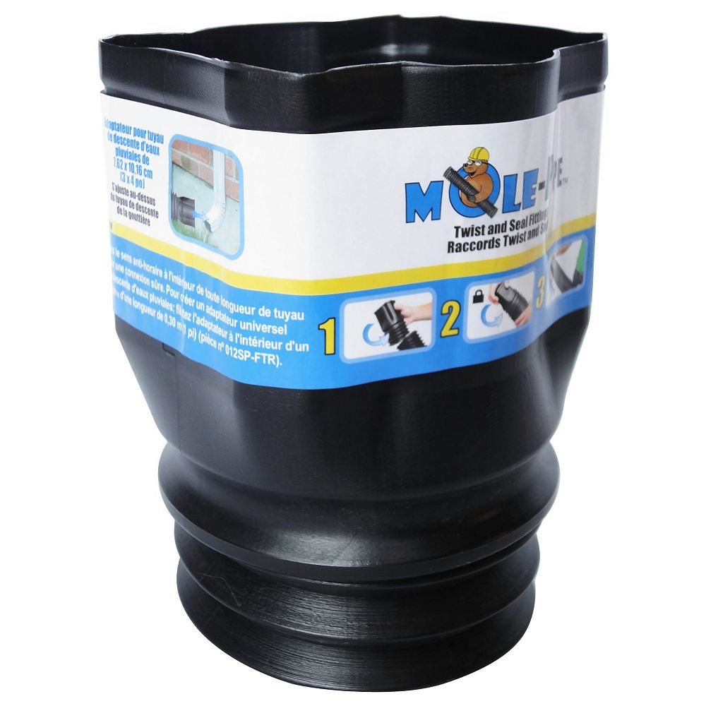 MOLE-Pipe 3 in. x 4 in. Downspout Adapter with Twist and Seal Technology